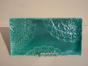 petit plateau turquoise dentelles